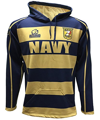 Rhino Rugby Navy Midshipmen Rugby Hoodie Sweatshirt, Large (Jersey Replica Official Personalized Away)