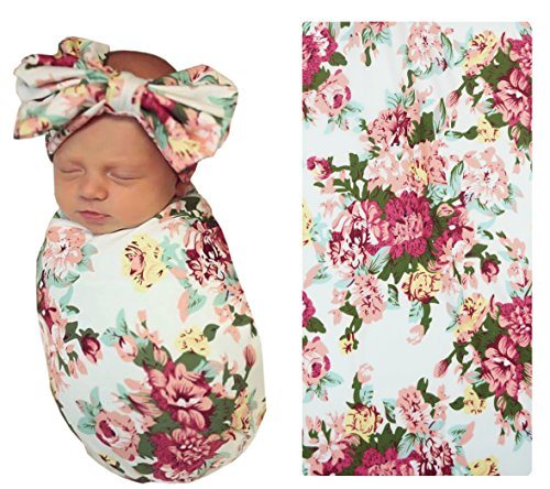 Floral Receiving Blankets (PoshPeanut Floral Infant Swaddle Blanket - Large Double Sided Premium Knit Baby Swaddling Receiving Blanket And Headband Set, Baby Shower Newborn Gift)