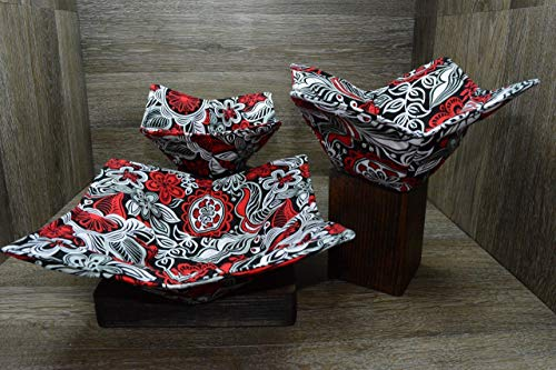 Microwave Bowl Cozies, Set of 3, 1 Small Bowl Cozy, 1 Medium Bowl Cozy and 1 Dinner Plate Cozy, Rockin Red Floral