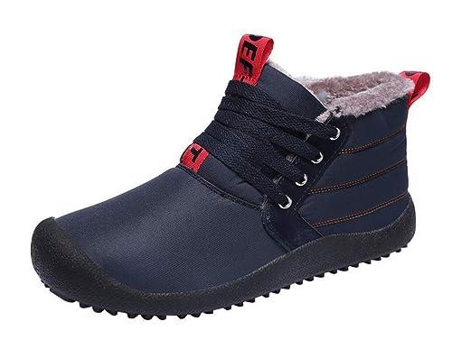 Stiefel Herren Wasserdicht Winterstiefel Schneestiefel mit Warm Gefütterte  Outdoor Rutschfeste Winter Schuhe Turnschuhe Freizeit Schuhe Sneakers 5ee8c286af