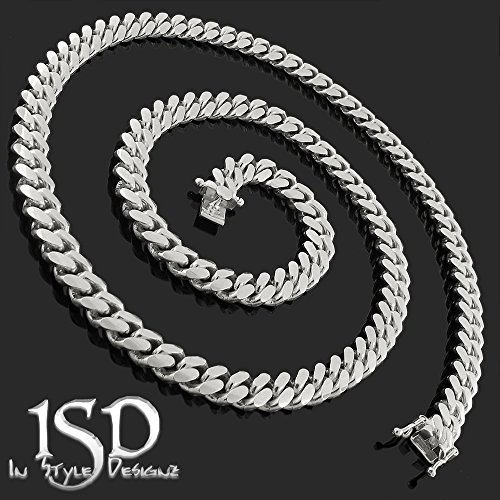 Sterling Silver 7.5mm Miami Cuban Curb Link Thick Solid 925 Rhodium Chain Necklace 24'' - 30'' (24) by In Style Designz (Image #2)