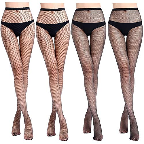 Fishnet Tights Stockings High Waisted Legging Pantyhose for Women Dancing Party (Black 4Pcs-B) J2359S-M2