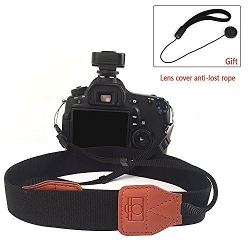 FoxRule Vintage Soft Universal Adjustable Camcorder Camera Shoulder Strap Sling Neck Strap with Lens Cover Anti-lost Rope for DSLR Nikon Canon Sony Panasonic