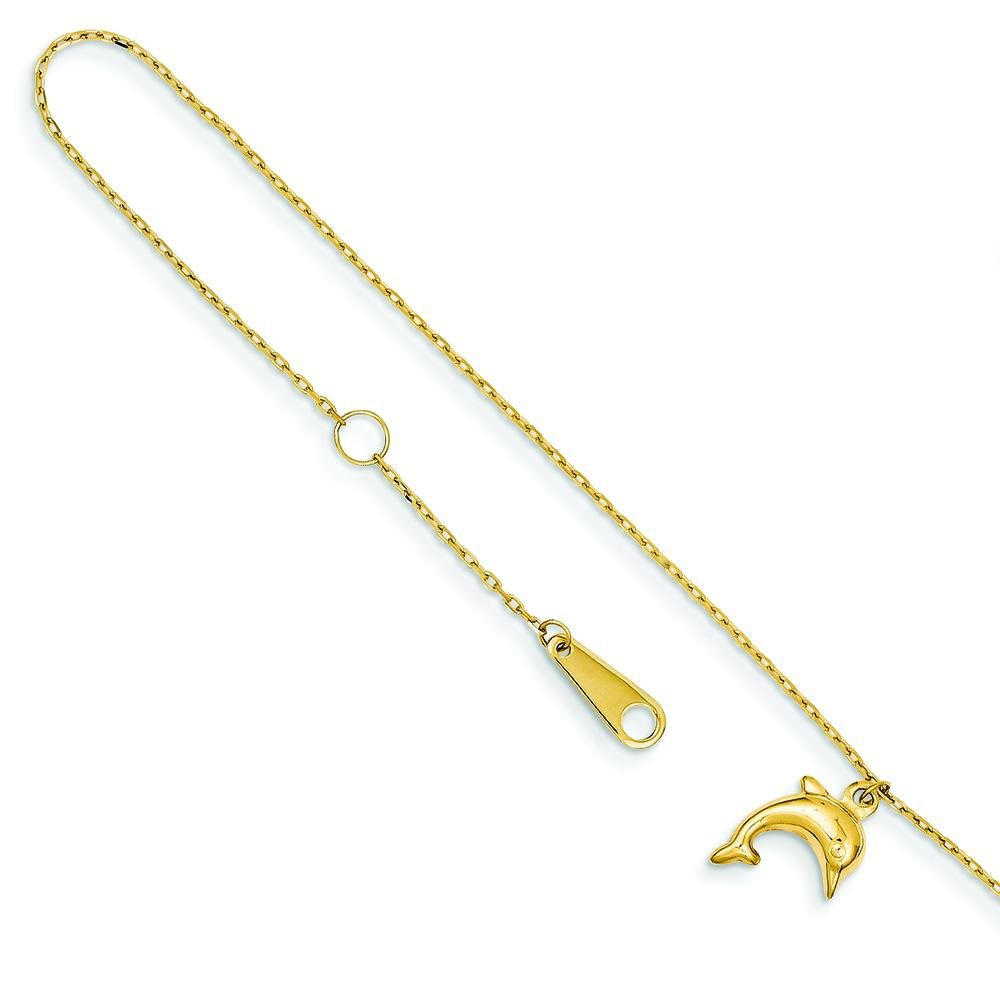 14K Gold Dolphin Charm Anklet With 1'' Exention Jewelry 10''