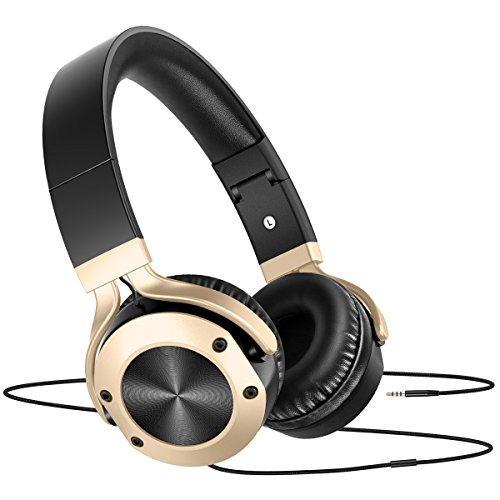 Headphones with Microphone Over Ear Stereo Bass HiFi Adjustable Lightweight Headphones, Wired Headset Headphone for Women Men Kids Boys Girls Computer Cellphones TV Skype, Sound Intone, Gold Black