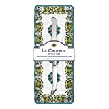 Le Cadeaux Allegra Baguette Tray and Laguiole Bread Knife Gift Set, Turquoise