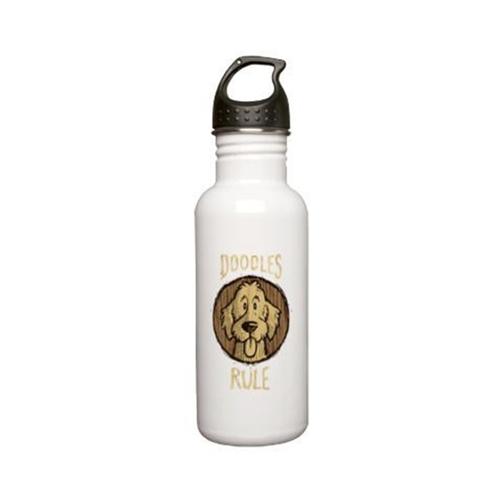 CafePress - 2-Doodles-Rule-Wood-Sc Stainless Water Bottle 0.6L - Stainless Steel Water Bottle, 0.6L Sports Bottle by CafePress (Image #2)