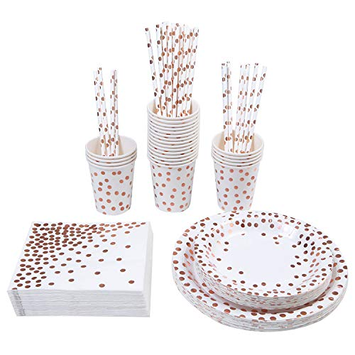 Aneco 146 Pieces Disposable Dinnerware Set Party Supplies Paper Tableware for 24 Guests, White With Rose Gold Foil (White) ()