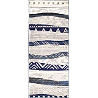ADGO Atlantic Collection Modern Abstract Geometric Sand Wave Indian Soft Pile Contemporary Carpet Thick Plush Stain Fade Resistant Easy Clean Bedroom Living Room Floor Rug, Blue Beige, 2