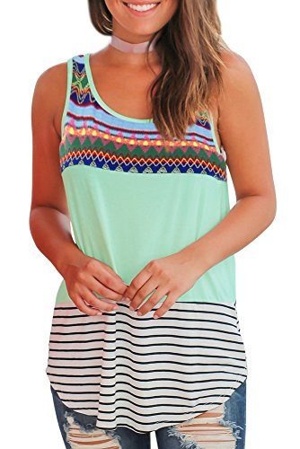 (Women Tops Sleeveless Basic Tee Shirts Floral Tops Color Block Round Neck XL)