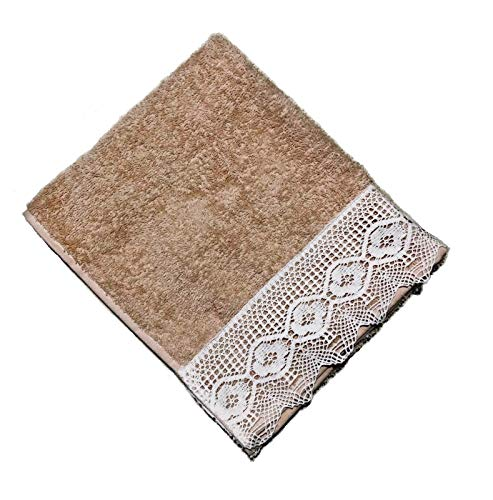 MinTurk Nostalgic Lace Decorative Quality Promotional Turkish Bath Towel - (Buy 4-Pack Pay 2-Pack) - Oversized Cappuccino Color - Natural for Home Spa Hotel Sport ()
