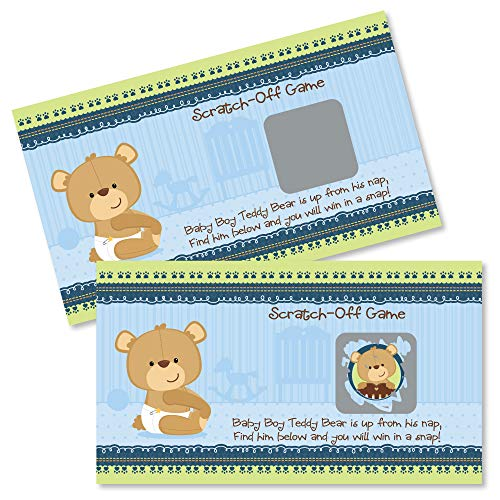 - Big Dot of Happiness Baby Boy Teddy Bear - Baby Shower or Birthday Party Game Scratch Off Cards - 22 Count