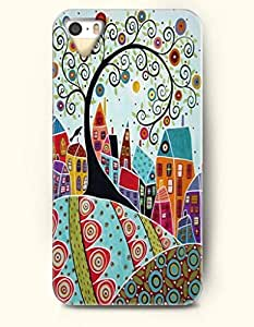 OOFIT Apple iPhone 4 4S Case Paisley Pattern ( Zendoodle of a City Surrounding with Flowers and Trees )