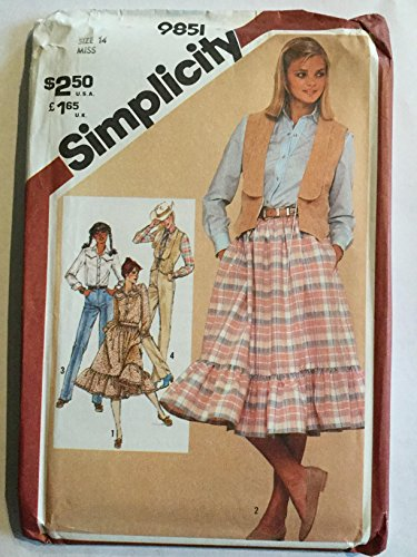 (Simplicity 9851 Misses' Western Style Skirt, Pants, Shirt and Lined Vest Vintage Sewing Pattern)