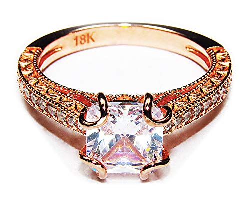 AndreAngel Engagement Wedding Ring Bridal Marriage Promise Proposal Women Rose Gold 18K Carat Cubic Zirconia Lab Diamond AAAAA Stone Pave Statement Princess Cut Solitaire Vintage Valentine's Size 7