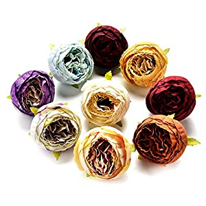 Artificial Flower Silk Rose Fake Flower Head Wedding Home Silk Flower Christmas Decoration DIY Wreath Craft Ornaments 5PCS 7cm (Multicolor) 44