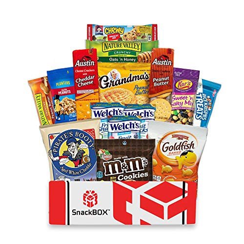 Care Package for College Students, Military, Father's Day, Finals, Birthday, Office Snacks and Back to School with Chips, Cookies and Candy (15 Count) From SnackBOX (Care Basket)