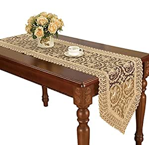 Customized beige lace table runner and scarf for 120 inch table runner