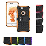 iPhone 8 Plus Case, iPhone 7 Plus Case, HLCT Rugged Shock Proof Dual-Layer Case with Built-In Stand Kickstand (Orange)