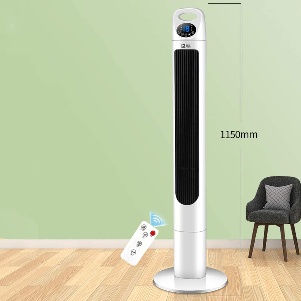 LoveGlass Quiet Tower Fan,Bladeless Standing Oscillating Cooling Tower Fan with Remote,3 Speeds Wind Air Conditioner Fan with Timer for Home White 32x32x115cm(13x13x45inch)
