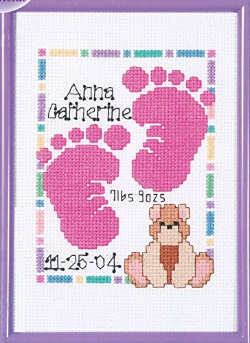 - Janlynn Counted Cross Stitch Kit Baby Footprints Birth Announcement
