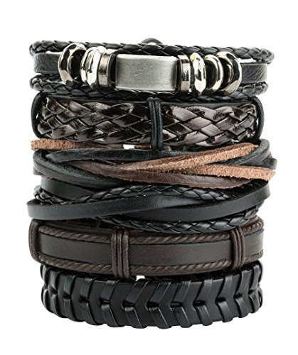 REVOLIA 6Pcs Braided Leather Bracelets for Men Women Cuff Wrap Wristbands (Handmade Leather Band)