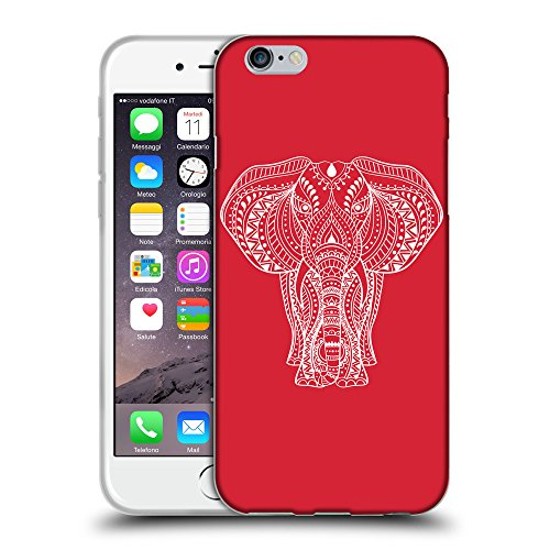 """GoGoMobile Coque de Protection TPU Silicone Case pour // Q09600601 Éléphant indien 2 Alizarine // Apple iPhone 6 PLUS 5.5"""""""