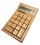 Glovion Eco-friendly Finely Handcrafted 12 Digits Solar Powered Nature Bamboo Wood Calculator (Bend Style)