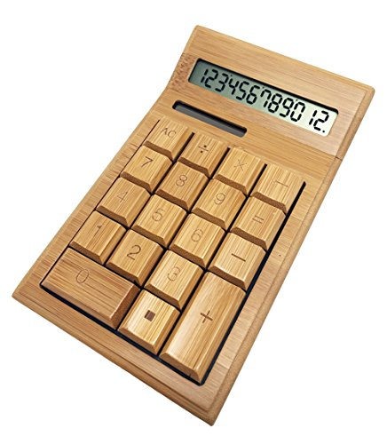 Glovion Eco-friendly Finely Handcrafted 12 Digits Solar Powered Nature Bamboo Wood Calculator (Bend Style) by Glovion
