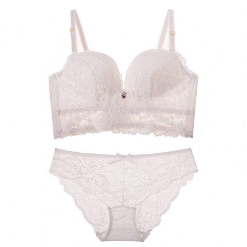 MEISUWANG Bra Women Underwear Set Full Cup Fine Embroidery Lace Bra Set Wire Free Gather Together Push Up Bra Sets by MEISUWANG