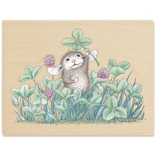 Stampabilities House Mouse Wood Mounted Rubber Stamp: O Lucky Day Stampabilities House Mouse