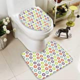 SOCOMIMI 2 Piece Toilet mat Set Collection Colorful Round Ikat Design Traditional Exotic Asian Islamic Art Motifs Home 2 Piece Shower Mat Set