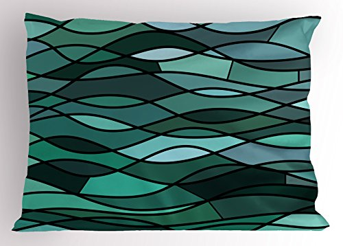 Ambesonne Teal Pillow Sham, Abstract Mosaic Waves Ocean Inspired Expressionist Pattern Marine Design Image, Decorative Standard Size Printed Pillowcase, 26