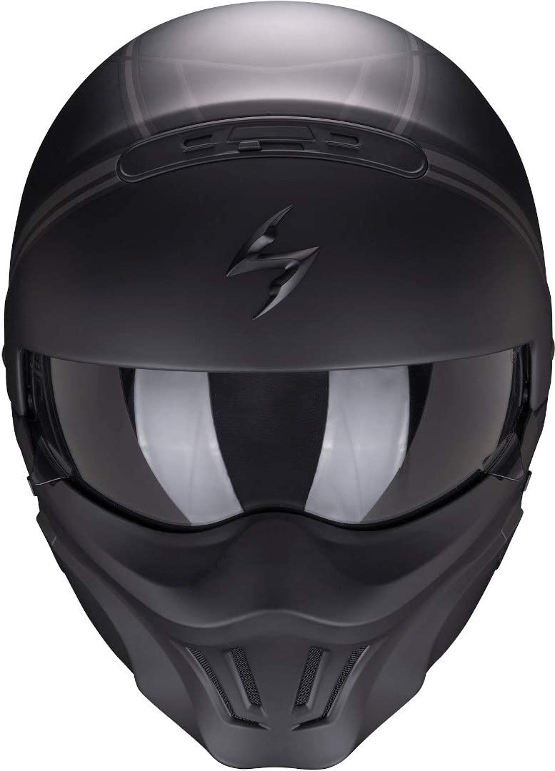 S Schwarz//Grau Scorpion Motorradhelm EXO-COMBAT EVO Unborn Matt Black-Silver