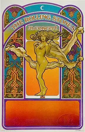 Original Rolling Stones 1969 Let It Bleed Tour Poster Davis Byrd Art Nouveau Tea Lautrec Litho