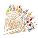 """PuTwo Cocktail Picks 4.7"""" Handmade Multicolor Appetizer Bamboo Toothpicks, 100 Count"""