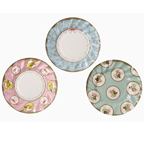 Talking Tables Frills & Frosting Delightful Plates for a Tea Party, Mixed (24 Pack)