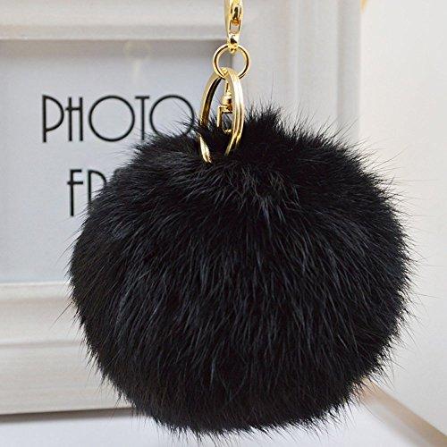 Minigianni Rabbit Fur Ball Pom Pom Keychain Gold Plated Keychain for Handbag Wallet Purse Car Key (Black)