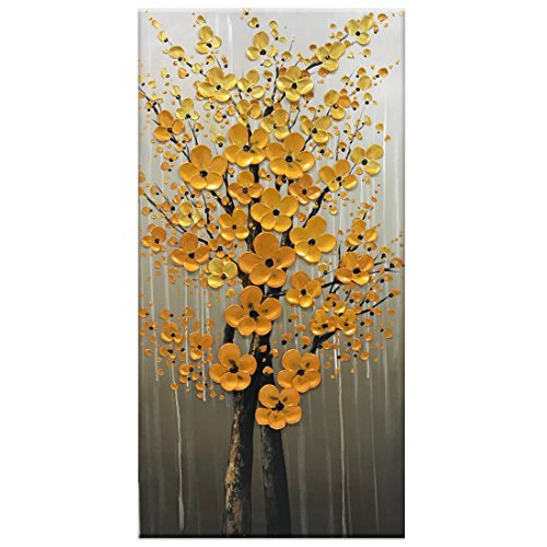 - Fasdi-ART- 3D Vertical Gold Flower Oil Paintings Modern Flower Art Hand Painted Paintings Modern Canvas Floral Wall Art for Living Room Bedroom(24x48 inch)