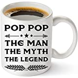 Muggies Pop Papa Mug - Gift For Dad And Grandpa! Coffee Tea 11oz Cup. Unique Gifts For Men & Husband! Christmas, Birthday, Father's Day - Pop Pop The Man The Myth The Legend + Woodworking Ebook