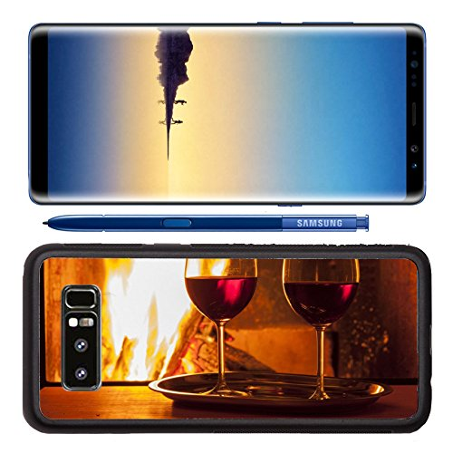 Luxlady Premium Samsung Galaxy Note8 Aluminum Backplate Bumper Snap Case IMAGE ID: 22643692 delicious drinks and snack at cozy (Botanical Fireplace)