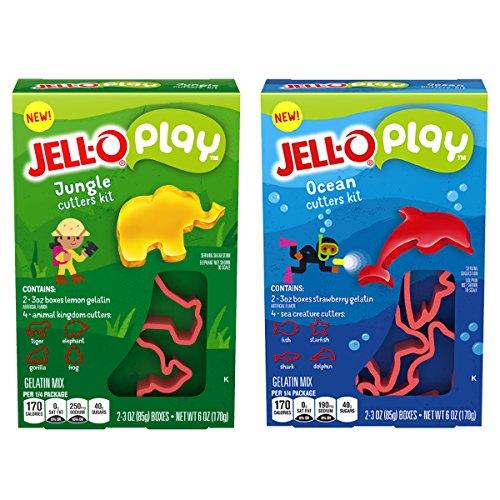 JELL-O Play Ocean & Jungle Cutters Gelatin Dessert Kits (6 oz Boxes, Twinpack)]()