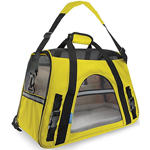 ECBUY Airline Approved Pet Carriers w/ Fleece Bed For Pet Dog & Cat Carrier Travel Mesh pet travel package for pet (Medium, Yellow)