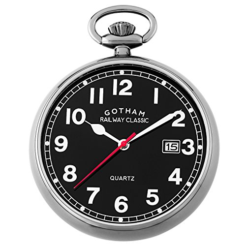 (Gotham Men's Gun-Tone Analog Quartz Date Railroad Pocket Watch # GWC14101BBK)