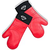Sapphire Foodware Super Soft Silicone Oven Mitts Commercial Grade Baking Gloves Red Set of 2 Extra Long Waterproof Quilted Cotton Lining Cooking BBQ