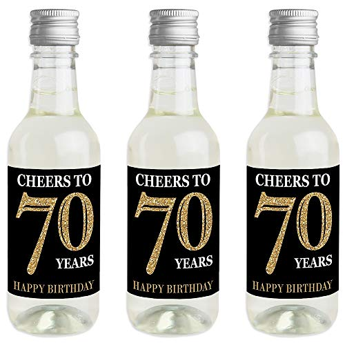 Adult 70th Birthday - Gold - Mini Wine and Champagne Bottle Label Stickers - Birthday Party Favor Gift for Women and Men - Set of 16