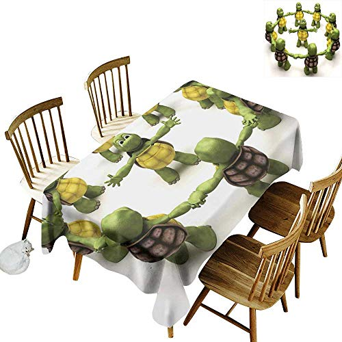 kangkaishi Reptile Washable Long Tablecloth Dinner Picnic Home Decor Ninja Turtles Dancing Tortoise Team Relax Fun Happiness Childhood Kids Print W54 x L108 Inch Green White Brown