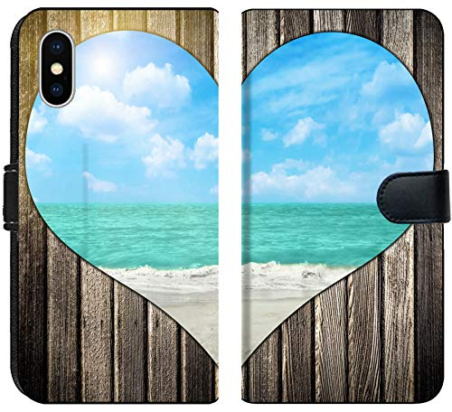 Apple iPhone X Flip Fabric Wallet Case Image ID 20447241 Heart Shape Cutout in Wood with View at Tropical Beach