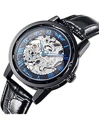 GuTe Classic Steampunk Blue Roman Mechanical Wrist Watch Skeleton Black Case/Strap