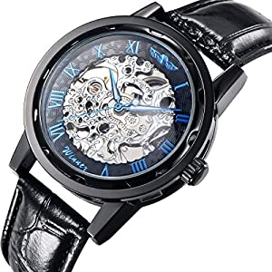 Gute Classic Steampunk Bling Automatic Mechanical Wristwatch See Through Skeleton Automatic Unisex Watch (Blue-Black)